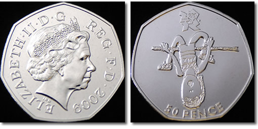 2010 50 pence coin