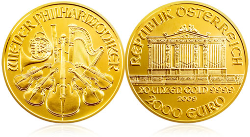 Austrian Gold Philharmonic 20 oz Commemorate Coin