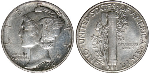 Counterfeit 1916-D dime
