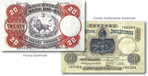 Persia and Straits Settlements Banknotes