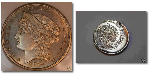 Stolen 1879 pattern dollar and off center 1929 5 Reichsmark