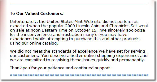 US Mint Apology