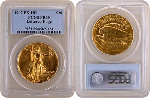 1907 Ultra High Relief Saint-Gaudens Double Eagle gold coin