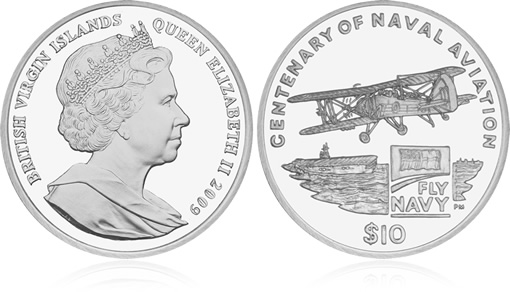 British Virgin Islands 2009 Centenary of Naval Aviation Coin