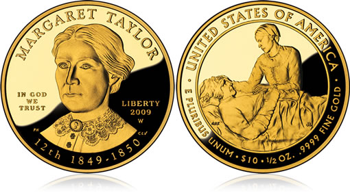 Proof Margaret Taylor First Spouse Gold Coin