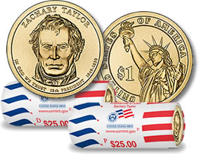 Zachary Taylor Presidential $1 Coin and Dollar Rolls