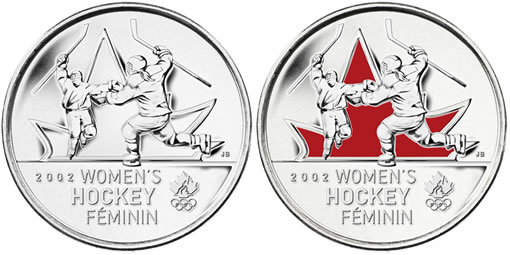 25-cent coins celebrating women's hockey gold medal in 2002