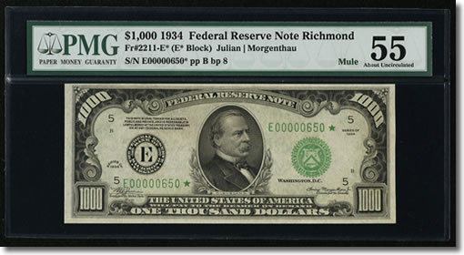 Richmond Fr. 2211-E* $1000 1934 Federal Reserve Note. PMG About Uncirculated 55.