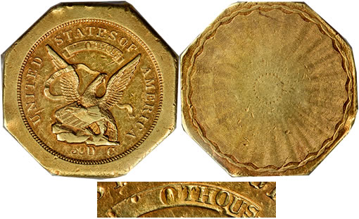 1851 Augustus Humbert Fifty-Dollar gold piece