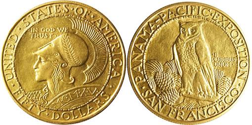 1915-S $50 Panama-Pacific Round