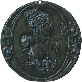 Alfonso Ruspagiari, Bust of a Woman Viewed by a Face in Profile Medal