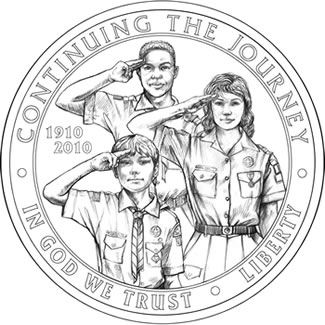 Boy Scouts of America BSA Centennial Commemorative Silver Dollar Obverse Design
