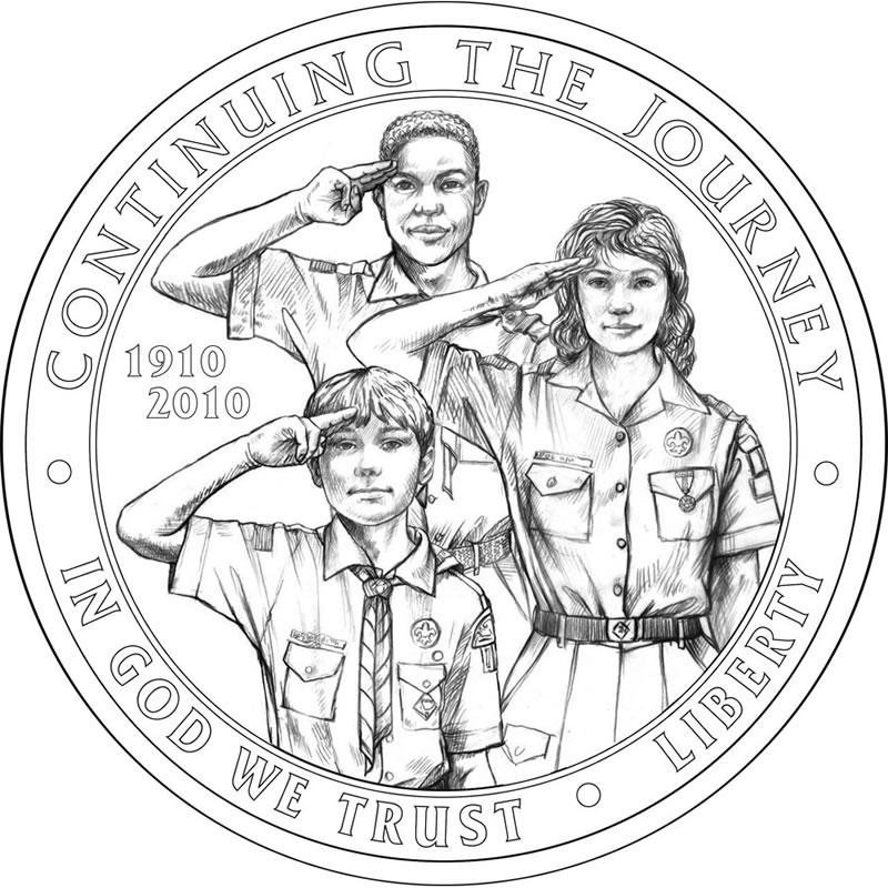Boy Scouts of America BSA Centennial Silver Dollar Obverse Design ...