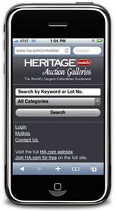 Heritage Auctions website on iPhone