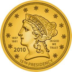 James Buchanan's First Spouse Gold Coin Liberty Obverse Design