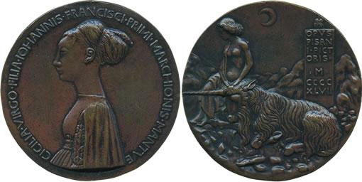 Pisanello bronze medal of Cecilia Gonzaga