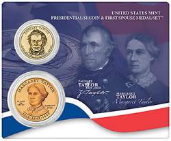 Zachary and Margaret Taylor Presidential $1 Dollar Coin & First Spouse Medal Set