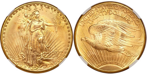 1927-D Saint-Gaudens double eagle, MS66 PCGS