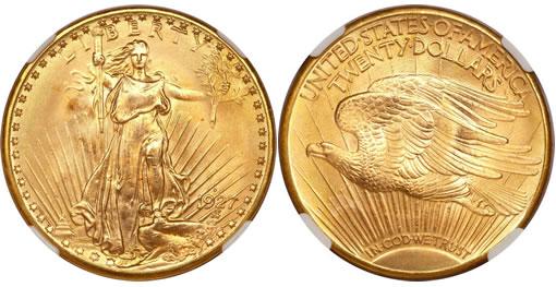 1927-D Saint-Gaudens double eagle, MS66 PCGS