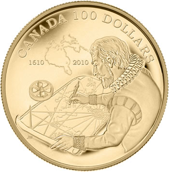2010 14-KARAT GOLD COIN -- 400TH ANNIVERSARY OF THE DISCOVERY OF HUDSON'S BAY (1610-2010)