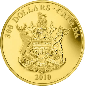 2010 $300 GOLD COIN -- BRITISH COLUMBIA COAT OF ARMS