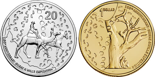 Royal Australian Mint's 2010 Burke and Wills Expedition 150th Anniversary 20c and $1 coins