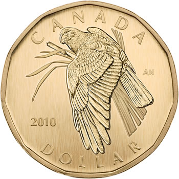 Northern Harrier Aureate Dollar (Reverse) in 2010 Royal Canadian Mint Specimen Set