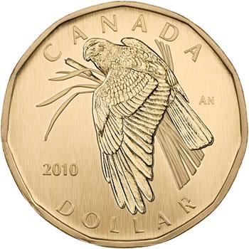 Northern Harrier Aureate Dollar (Reverse) in 2010 Royal Canadian Mint Specimen Set