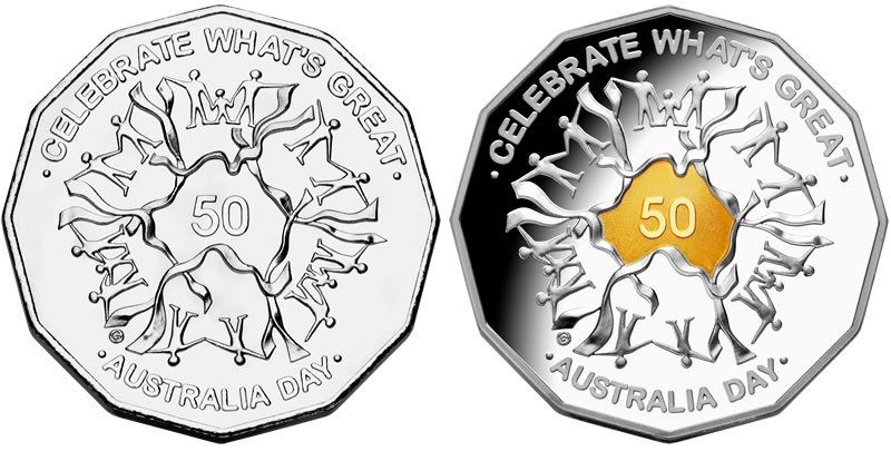 Coin Australian Value Australian Day 2010 Coins 50