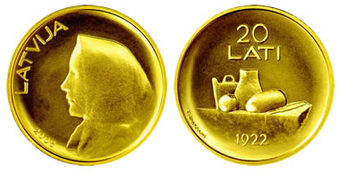 20 lati issued by the Bank of Latvia