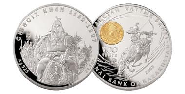 Kazakhstan Mint 100 Tenge Genghis Khan Silver Coin