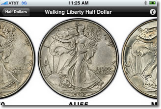 PCGS Photograde on iPhone, Walking Liberty Half Dollars