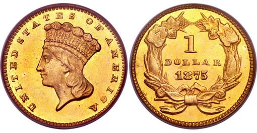 1875 Gold Dollar