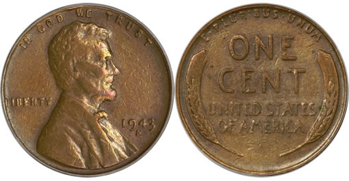 1943-S Cent Struck on a Bronze Planchet,