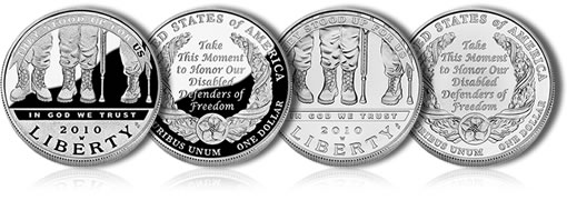 2010 American Veterans Disabled for Life Silver Dollars