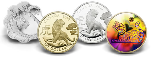 2010 Year of the Tiger Silver and Gold Coins