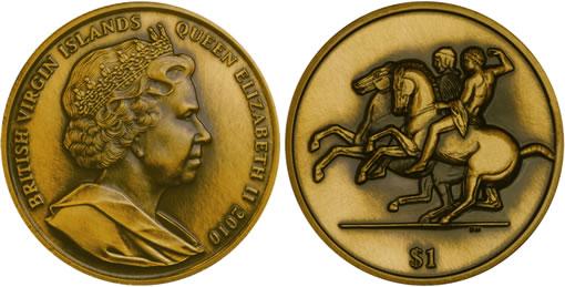 British Virgin Islands Elgin Marbles Antiqued Bronze Coin
