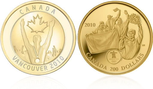 Canadian Gold Medallion and 22-karat Gold $200 Olympic Gold Coin