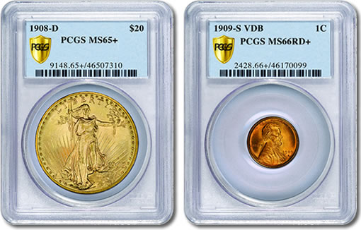 1908-D Saint-Gaudens Double Eagle and 1909-S V.D.B. Lincoln cent