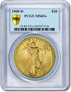 1908-D Saint-Gaudens Double Eagle graded MS65+