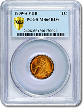 1909-S V.D.B. Lincoln cent graded MS66+
