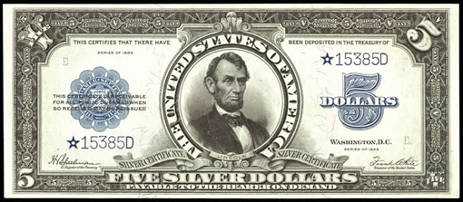 1923 $5 Silver Certificate Star Note