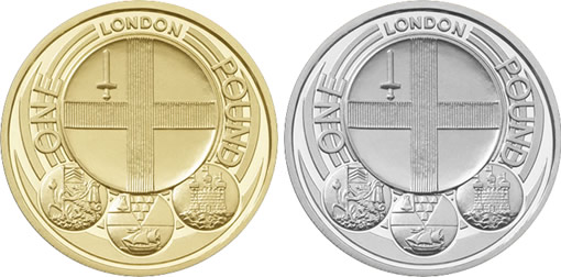 2010 £1 London Gold and Silver Coins