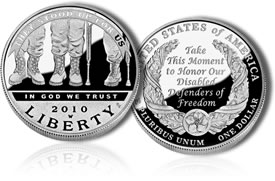 American Veterans Disabled for Life Silver Dollar - Proof Version