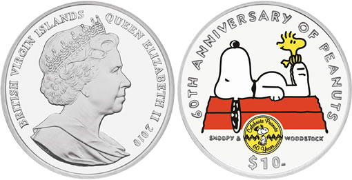Commemorative 60th Anniversary of Peanuts Silver Coin Featuring Snoopy