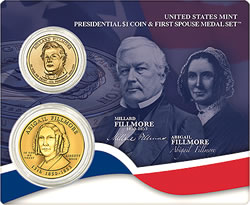Millard and Abigail Fillmore Presidential $1 Coin & First Spouse Metal Set