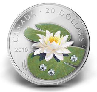 2010 $20 WATER LILY FINE SILVER COIN