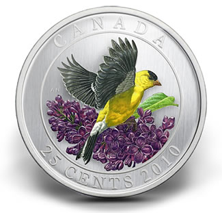 2010 GOLDFINCH 25-CENT COLOURED COIN