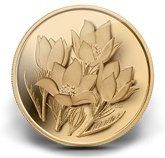 2010 PRAIRIE CROCUS PURE GOLD COIN