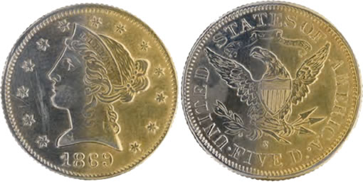 Counterfeit $5 gold coin